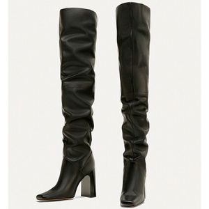 Zara Over the knee high heel leather boots 7003